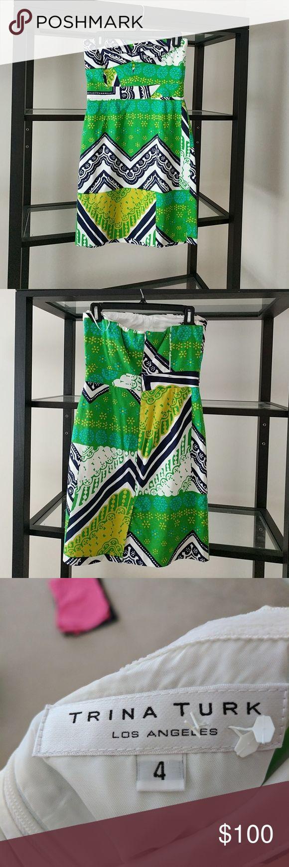Trina Turk Dress Printed Strapless Dress Trina Turk Dresses Strapless