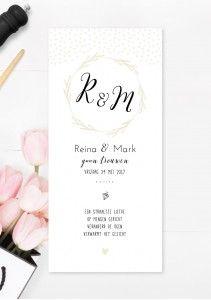 Trouwkaart diamant met fotokaart, confetti, logo, hartje, krans, typografie