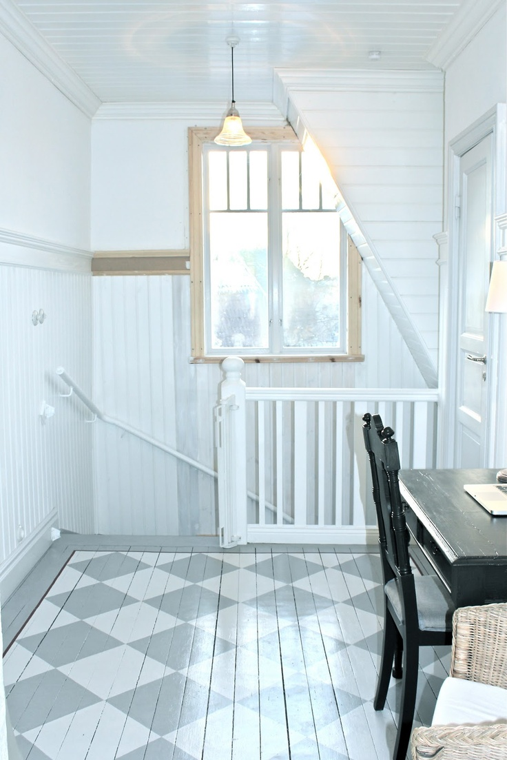 I really want to do this pattern on our floor in the master bedroom. It has a nice classic feel to it. I am also thinking similar colors.