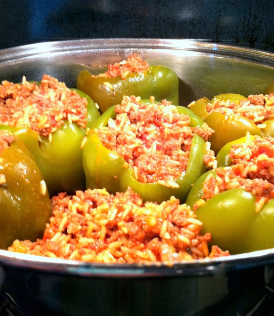 OLD-FASHIONED STUFFED GREEN PEPPERS~Made for Father's Day, Gordon loved them!!!