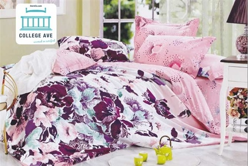 Our Corinna #bedding set is designed with dark plum/purple flowers along with light green and blue flowers that meld within the light pink background. This vivid #comforter is perfect for a pink and purple #dorm #decor theme! http://www.dormco.com/SearchResults.asp?Search=Corinna+Twin+XL+Comforter+Set+-+College+Ave+Designer+Series+