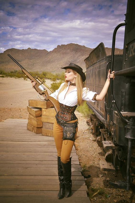 Wild West Steampunk (western america cowgirl/cowboy aka weird west)  - For costume tutorials, clothing guide, fashion inspiration photo gallery, calendar of Steampunk events, & more, visit SteampunkFashionGuide.com