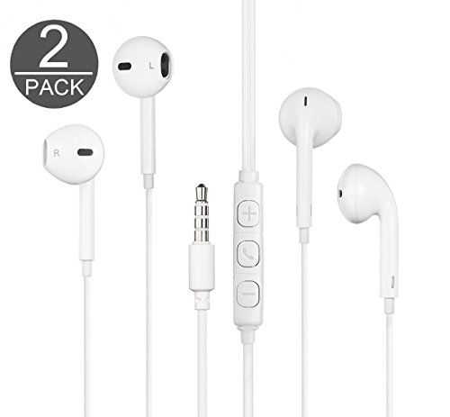 THE Electronics Standard 3.5MM Premium Earphone/Earbuds w/ Mic Remote and Carrying Case for Apple Samsung HTC Google Nokia Phones Tablets & More(THE Earpods - White X2)