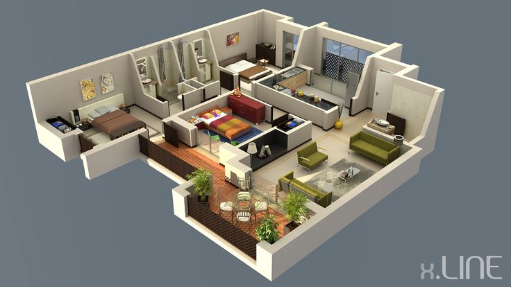 Renderig floor plan 02 x line 3d visualization plantas for Modele maison sweet home 3d
