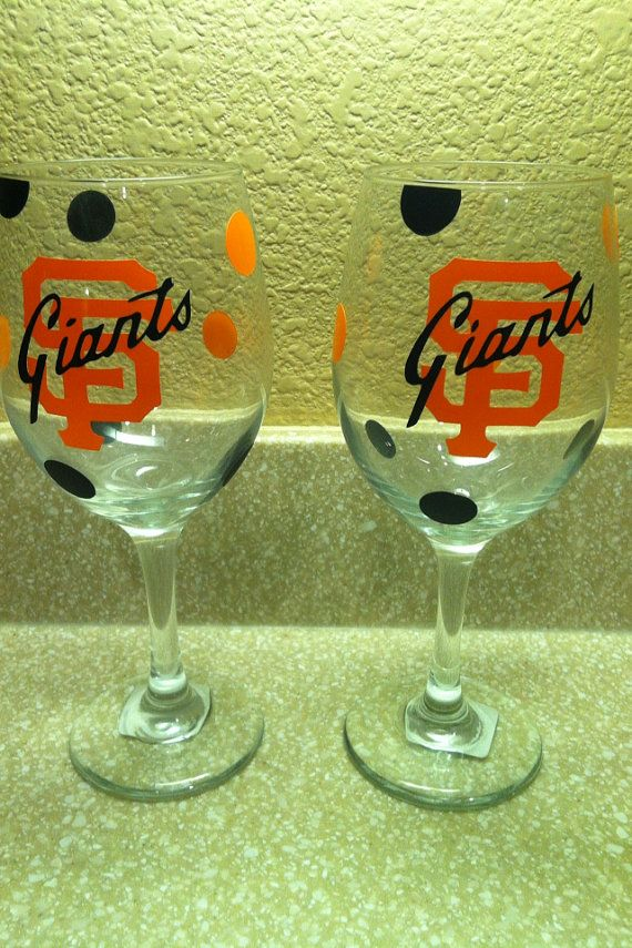 Handmade SF Giants Wine Glass by paperpassioncards on Etsy, $15.00