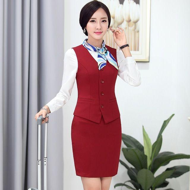 Fasormal mujeres trajes de negocios con falda y la parte superior establece para mujer trajes de oficina uniforme de trabajo para salón de belleza
