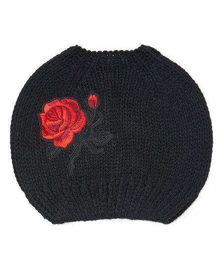 DNMC Black Rose Bun-Cutout Beanie | zulily