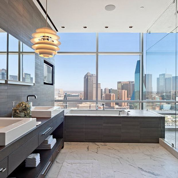 A luxury bathroom with the most amazing view ever more for View bathroom designs