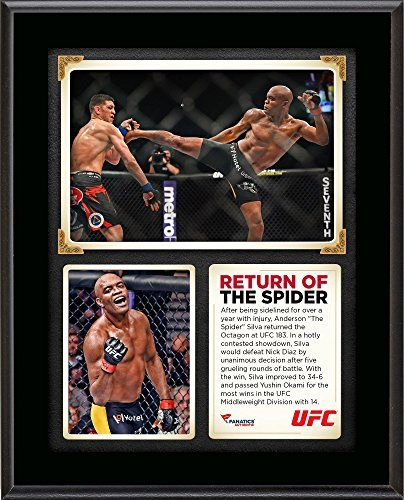 """Anderson Silva Ultimate Fighting Championship UFC 183 Victory Over Nick Diaz 10.5"""" x 13"""" Sublimated Plaque - Fanatics Authentic Certified"""