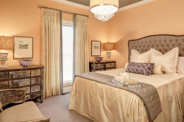Soft Peach Color Walls For Sophisticated Interior Look Bedroom Wall Colors French Country Bedrooms Peach Walls