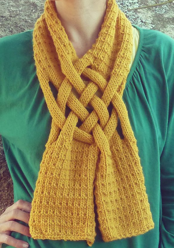 Knitting Pattern Braided Scarf - #ad Unisex neckwarmer in worsted weight yarn. More pics on Etsy tba self-fastening shaped