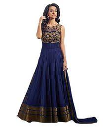 Buy Blue net embroidered semi stitched salwar with dupatta anarkali-salwar-kameez online