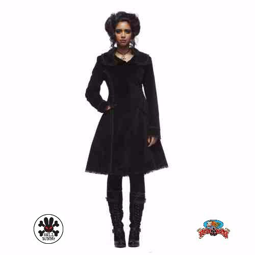 """This Crazy Doll Coat in Black by Hell Bunny will make every young men go crazy over you!   #Black #AutumnFashionforWomen #AutumnFashionIdeas #AutumnFahion #Coat #HellBunny #RuffnReadyAus """""""