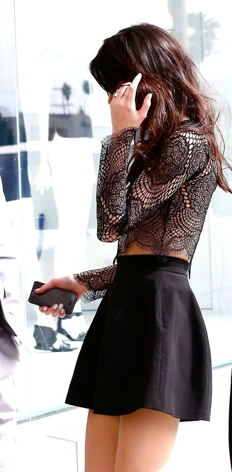 Stylish black sheer lace long sleeved crop top, black high-waist a-line skirt