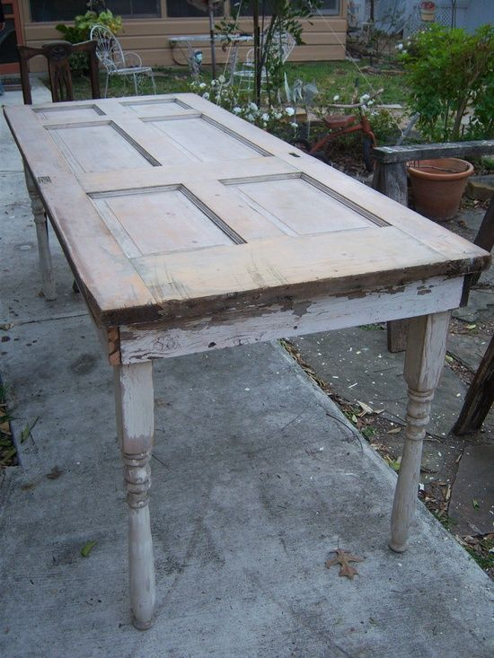Old doors made into tables old is better than new - Make a table from an old door ...