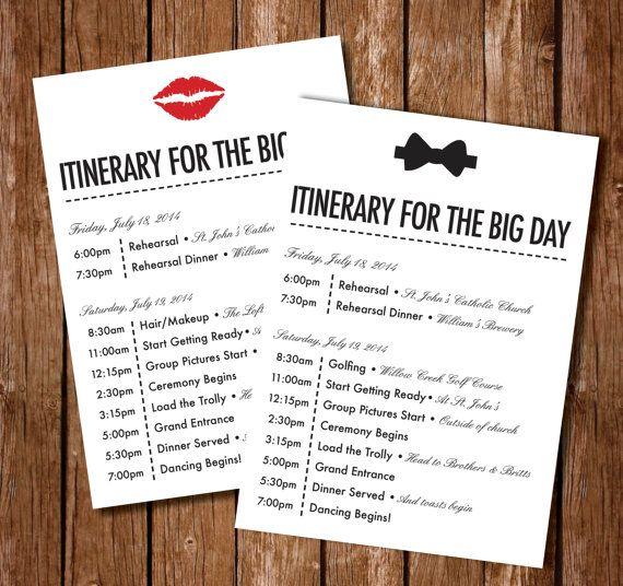 Printable Wedding Itinerary by AppleInvitations on Etsy
