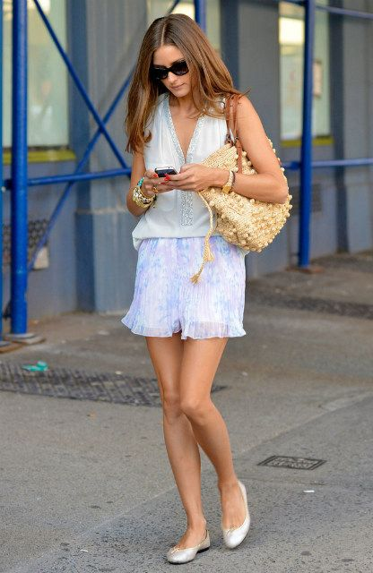 Stylestalker Whisky shorts   Fifteen Twenty Bead-Neck Tank  Gerard Darel 24 Hour Woodstock Rafia Bag French Sole Harriet Silver Leather flats