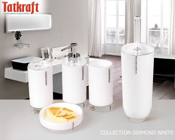 collection diamond white from tatkraft amazon uk acrylic bathroom accessories wwwtatkraft - White Bathroom Accessories Uk