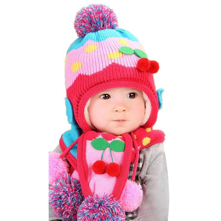 hot baby hat 2016 Cute Winter Baby Wool Hat Hooded Scarf Earflap Knit Cap Toddler newborn baby photography props topi bayi