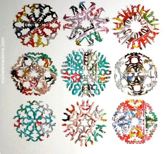 Junkmail snowflakes by Michele Made Me