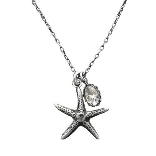 "Sterling Silver Oxidized and Matte Finished Vintage Starfish Necklace, 18"" With Cubic Zirconia"