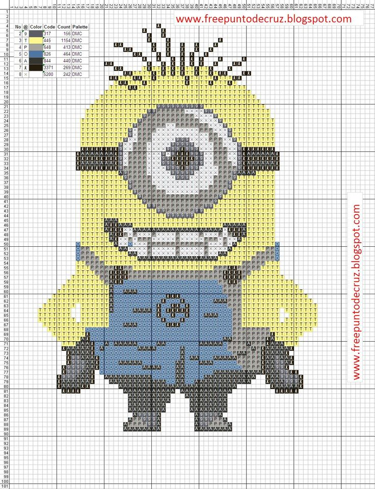 Minion+Cross+Stitch+Pattern+-+Punto+de+cruz.png 1,107×1,443 pixels