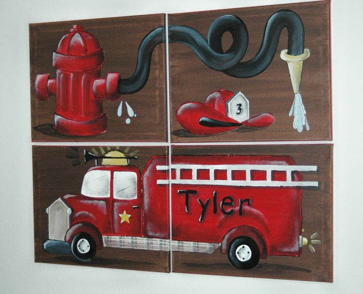 FIRE TRUCK wall art mural for boys rooms
