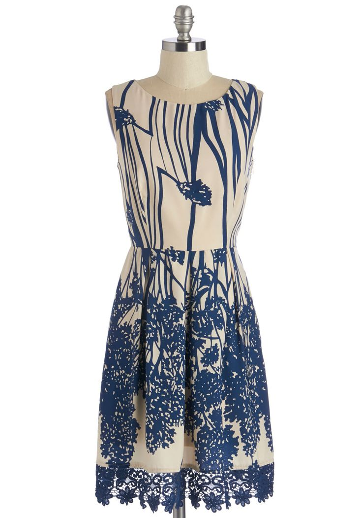 How Does Your Garden Glow? Dress. Your radiance is amplified when you don this flora-printed dress, complete with crocheted trim.  #modcloth