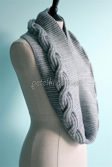 Красивый шарф-снуд спицами. Описание вязания