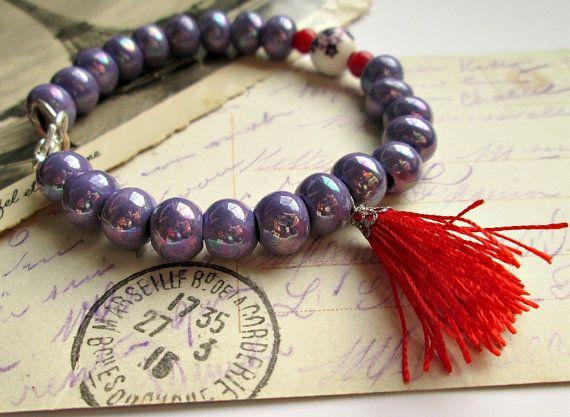 Boho purple beaded bracelet made with purple greek ceramic beads