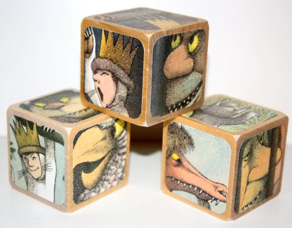 Where The Wild Things Are Children's Wooden Blocks - Birthday Party Decor - 2 Inch Blocks on Etsy, $16.00