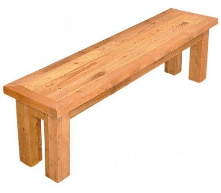 Handgemaakte bank gefabriceerd van sloophout en robuuste blokpoten van steigerhout. In de afmetingen: 210 x 39 x 45.