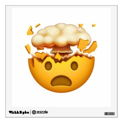 Shocked Face With Exploding Head - Emoji Wall Decal - walldecals home decor cyo custom wall decals