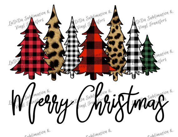 Merry Christmas Trees Plaid Leopard Check Sublimation Etsy Christmas Vinyl Christmas Designs Black Christmas Trees