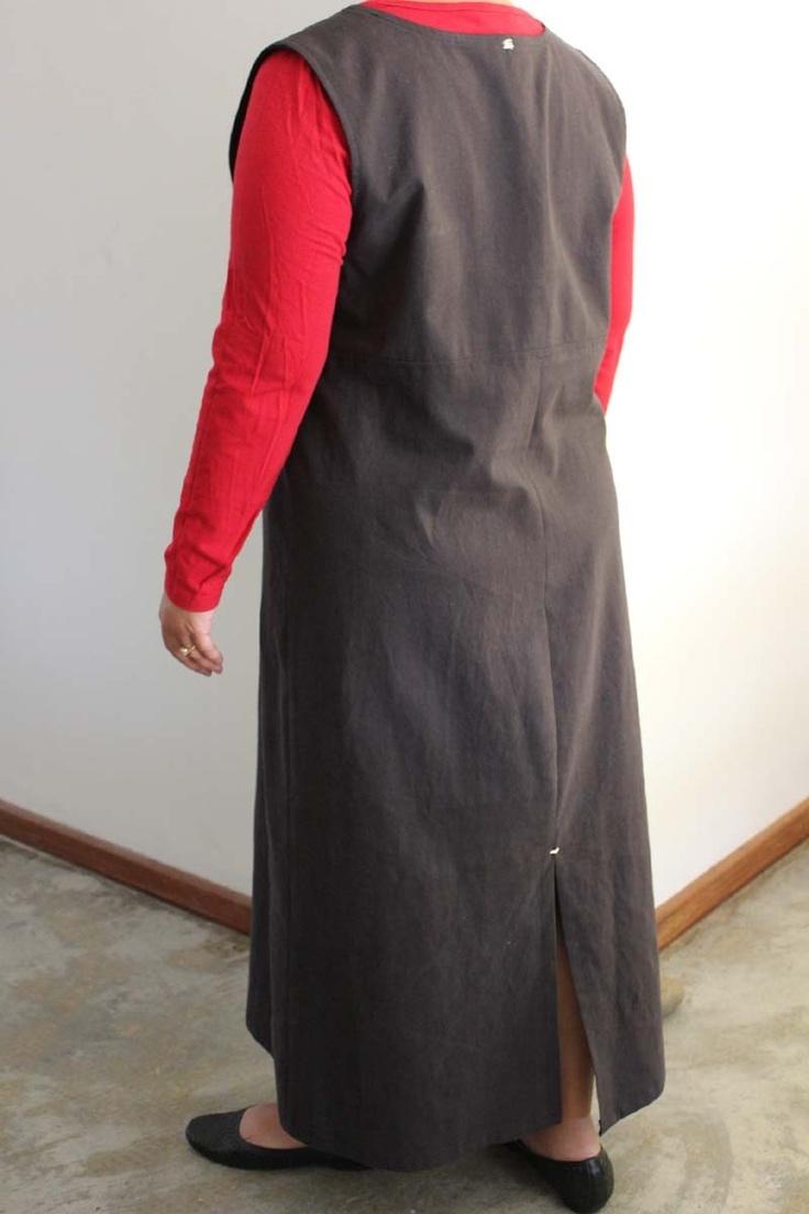 30% off SALE - Black linen blend pinafore dress. US size 12 (L).. $61.60, via Etsy.