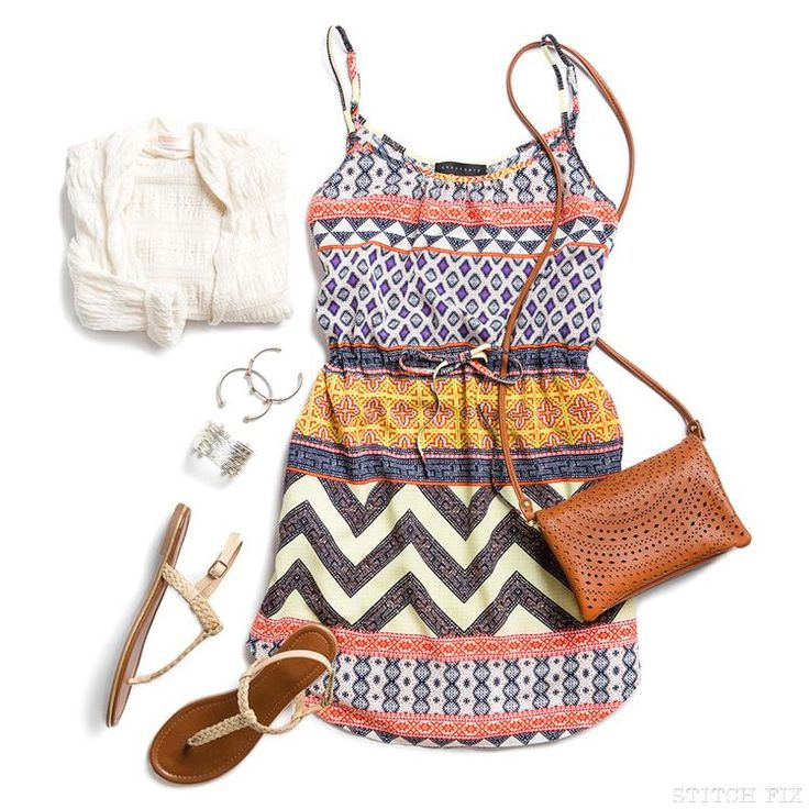 Stitch fix spring summer 2016. Geometric tank dress. Cross body bag. Sandals. Cute jewelry. AS LONG AS ITS LONG ENOUGH.