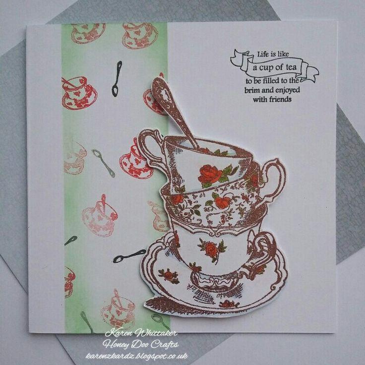 The quaint Time For Tea stamp set by Honey Doo Crafts  #honeydoocrafts #dtsample #timefortea #tea #cups #kuretakezig #distressoxides #stamps #stamping #card #creative #craft #ilovetocraft #creativity #karenzkardz