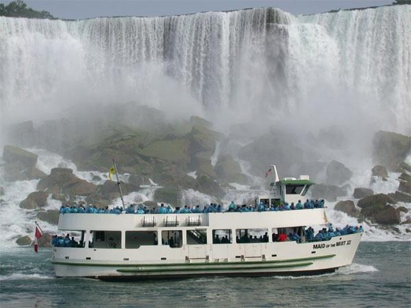 Ship under Niagara Falls.