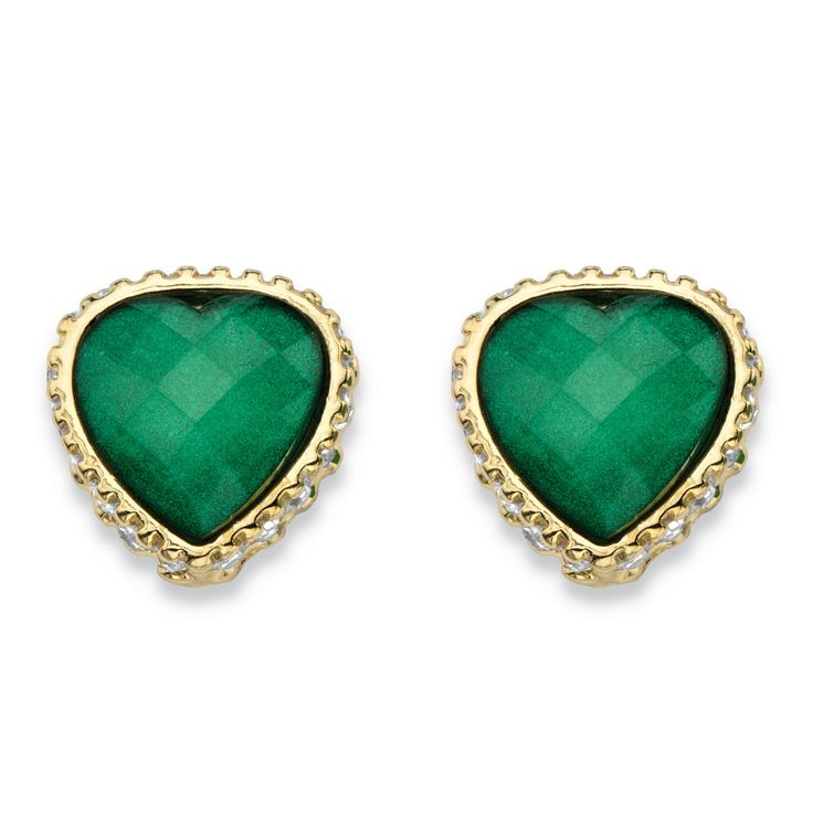 Glowing with a highly faceted checkerboard-cut, these gorgeous green crystal stud earrings are sweetly feminine and classic for a timeless look. The heart-shaped green crystal is basketed by glittering white crystals in a golden, textured setting that goes with anything. Measuring a little over a half inch, they're perfectly sized. Gold tone.