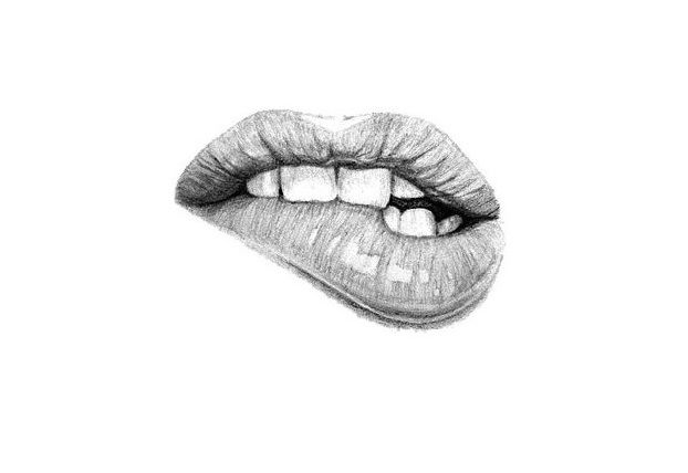 Biting Lip pencil drawing 2013 by Ashlie Lund