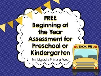FREE Beginning of the Year Assessment:  Basic Skills {colors, shapes, numbers, letters, name-writing, patterning}
