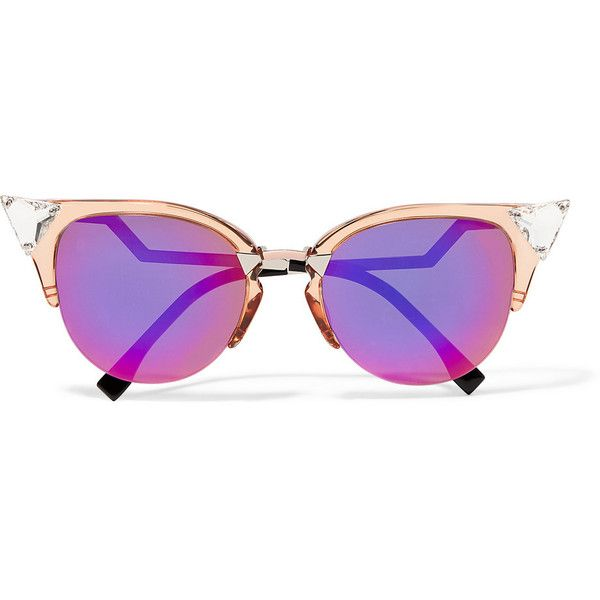 Fendi Swarovski crystal-embellished cat-eye acetate and metal... (£340) ❤ liked on Polyvore featuring accessories, eyewear, sunglasses, glasses, purple, see through sunglasses, embellished cat eye sunglasses, futuristic sunglasses, embellished sunglasses and acetate glasses