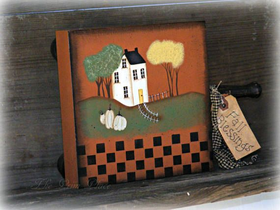 Primitive Hand Painted Chopping Block Primitive Fall Decor