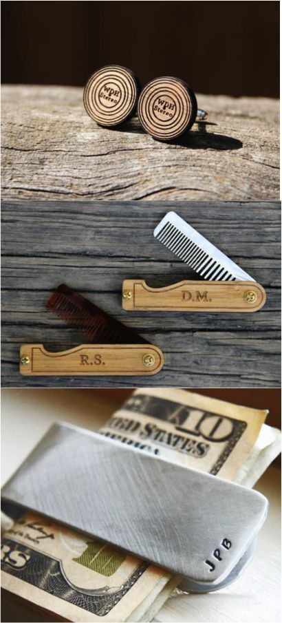 Personalized Groomsmen Gifts. Give your groomsmen something special for being with you on your big day. Personalize money clips, cufflinks, combs, and more.   Made on Hatch.co