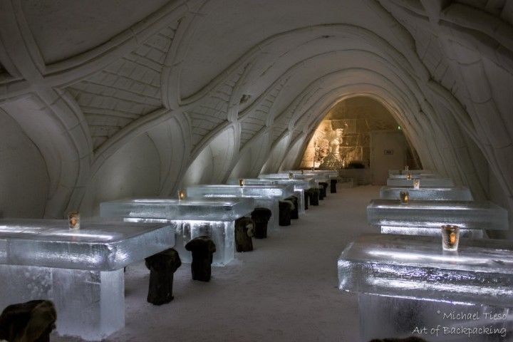 Dining room in the SnowCastle, Kemi, Finland - Tourist attractions in Finland