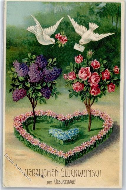 1911 Prägedruck Geburtstag Taube Rose Flieder Vergissmeinnicht: Ansichtskarten-Center Onlineshop