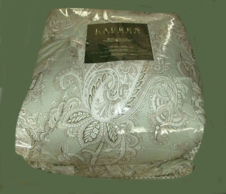 RALPH LAUREN Queen Comforter Set w/Shams JACOBEAN PAISLEY green brown #RalphLauren #Cottage