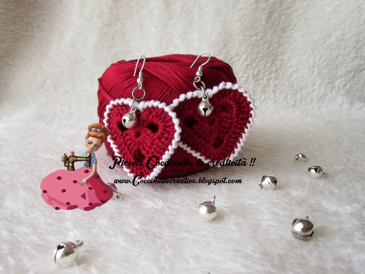 Orecchini a forma di cuore , realizzati a uncinetto, e lavorati con ottimi materiali! Ideali come idea regalo! Dedicati all'evento dell'amore ☺ San Valentino!! Per informazioni http://coccinellecreative.blogspot.it/2015/01/orecchini-san-valentino-cuore.html Earrings in the shape of heart, made crocheting, and finished with excellent materials! Ideal as a gift! Dedicated event ☺ love Valentine !! For information http://coccinellecreative.blogspot.it/2015/01/orecchini-san-valentino-cuore.html