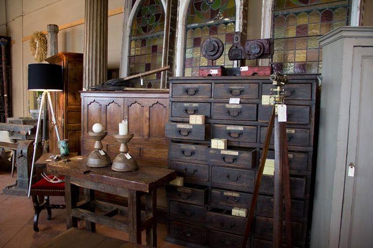 Antique English oak industrial cabinet, Georgian coffer, vintage tripod lamp