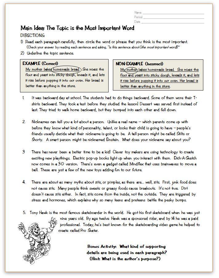 Main Idea Topic Practice Page Reading Tutoring Reading Classroom Teaching Reading